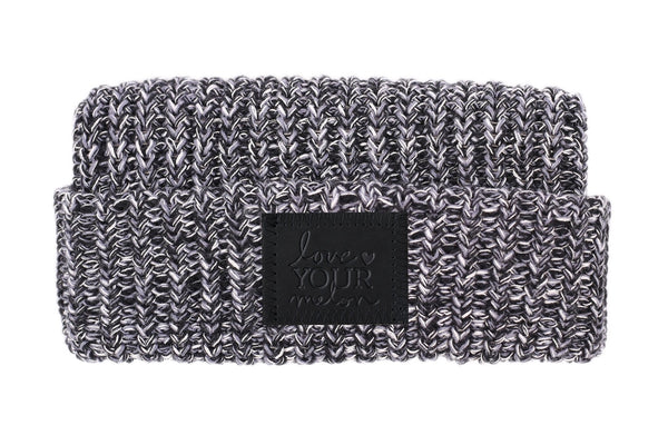 Beanie - Moon Cuffed Beanie (Black Leather Patch)