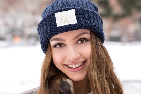 Navy Cuffed Beanie (White Gold Foil Patch)-Beanie-Love Your Melon