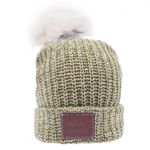Beanie - Olive And White Speckled Pom Beanie