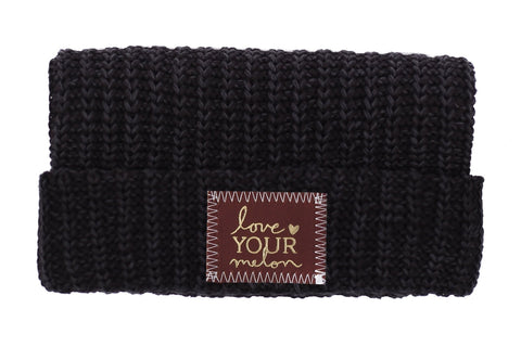 Beanie - Smoke Speckled Gold Foil Cuffed Beanie (Red Maple Patch)