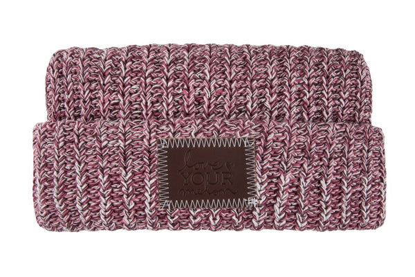 Beanie - White, Rose And Burgundy Speckled Cuffed Beanie