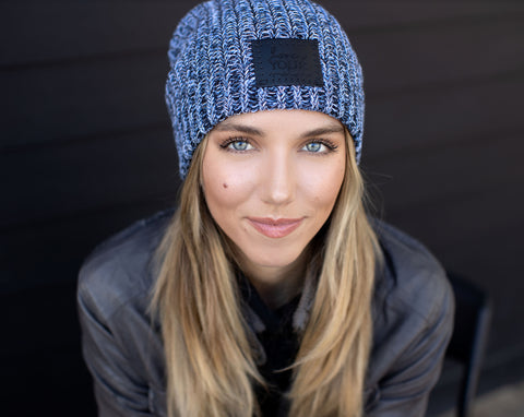 Winter Beanie (Black Leather Patch)