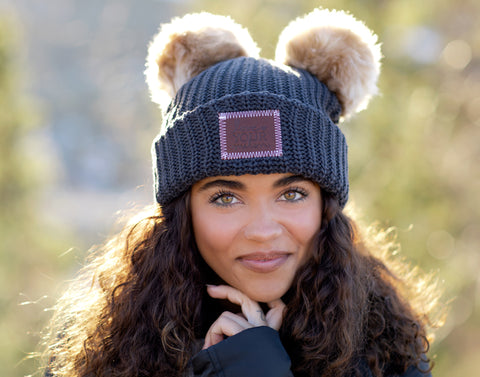 Dark Charcoal Double Pom Beanie (Natural Poms)