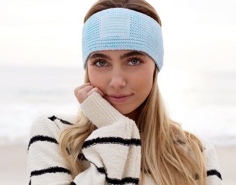 Ocean Blue Speckled Recycled Plastic Knit Headband