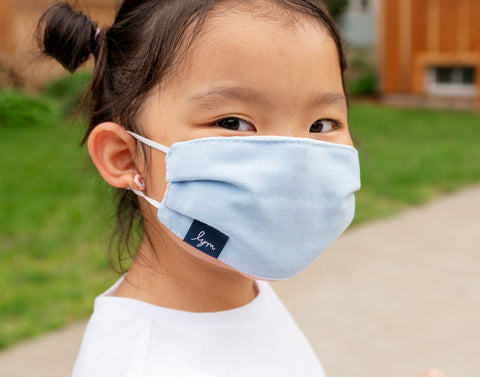 Kids Antimicrobial Cotton Face Mask with Nose Piece + Filter Pocket