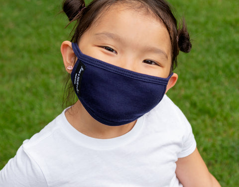 Kids Reusable Navy 3 Layer Jersey Cotton Face Mask