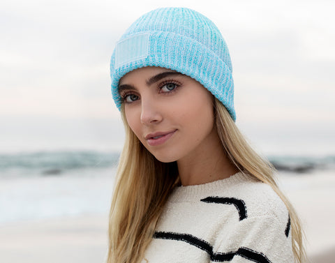 Ocean Blue Speckled Recycled Plastic Cuffed Beanie