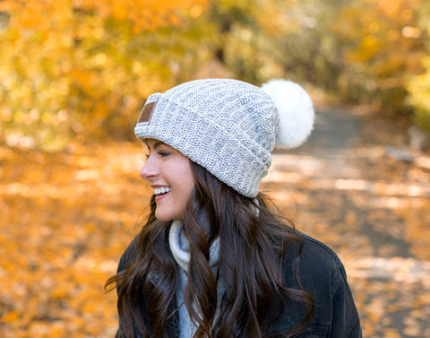 Gray Speckled Pom Beanie (White Pom)-Beanie-Love Your Melon