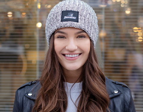 Providence College Black Speckled Reflective Patch Beanie