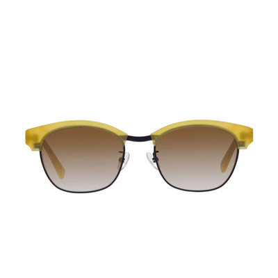 Yellow combination style glasses with black chassis and brown gradient lens.