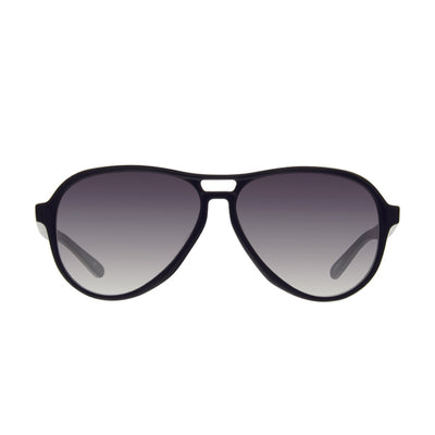Gender neutral aviator sunglasses with double bridge. Black color with gray gradient lenses.