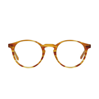 Front face view of P3 round glasses with keyhole bridge in light tortoise color.