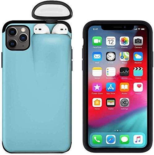 2 in1 Phone case for iPhone and AirPods Shockproof Protective Cover with Earphone Case