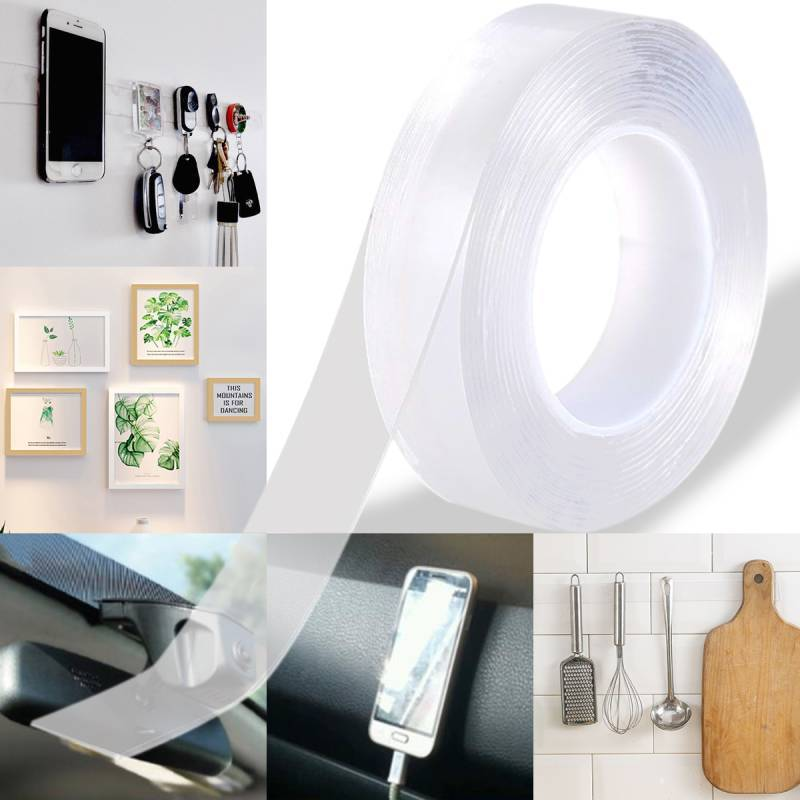 Clearance - Multifunctional Nano Double-Sided Gel Tape Washable Adhesive Reusable Anti-Slip Nano Gel Pads, Stick to Glass, Metal, Plastic, etc (6.6~16.4 ft) - Luckinchic - LuckinChic.com