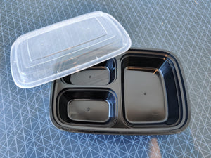 Container - 3 Compartments Rectangle Microwavable Container Set