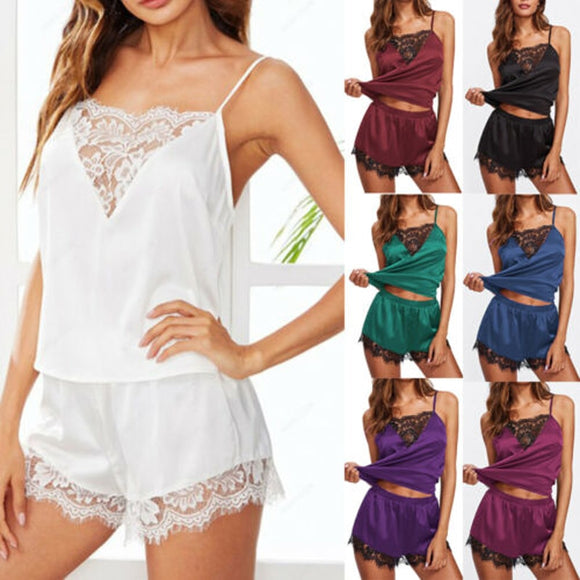 Hot Ladies Sleepwear Women Satin Sexy Lingerie Lace Pajamas Set Elegant Sleeveless Top and Shorts Night Suit Pj Set Underwear