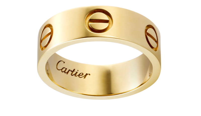 Stainless Steel Love Wedding Band Gold Color