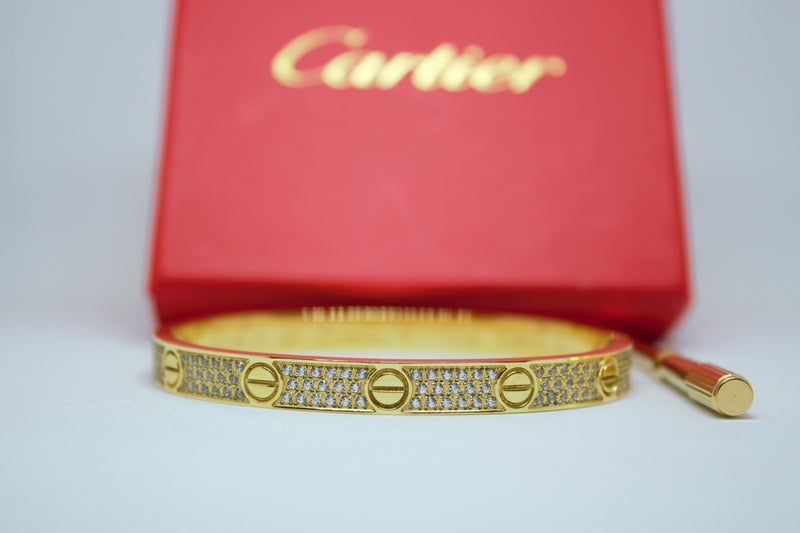 Stainless Steel Paved Diamonds Bracelet Gold Color
