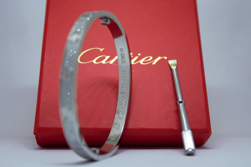 Stainless Steel Paved Diamonds Bracelet Silver Color
