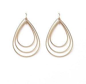 Triple Hammered Teardrop Earrings (2 Color Options)