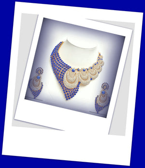 White & Blue Stoned Wedding Jewelry Set