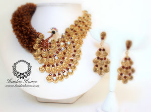 HBS 1269 - Haidos Amber(Brown) & Crystal Bespoke Daylor Beads Set