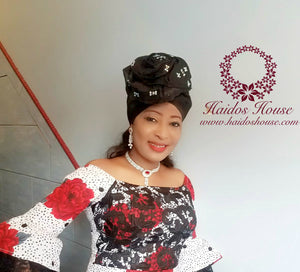 AG - Lovely Rose Design Auto-Gele/ Aso-oke Turban in Black