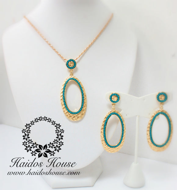 PS107 - Oval Turquoise Beaded Gold Pendant Set