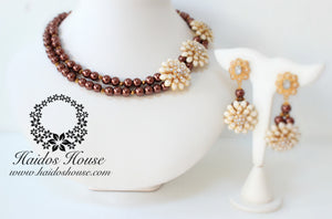 HBS 1266 - Haidos Brown,Creme and Gold Beads Set