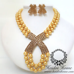 HBS 1282 - 2 Layer Gold Criss Cross Set