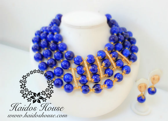 HBS 1236 - Haidos 4 Strands Dark Royal Blue & Gold Bespoke Beads Set