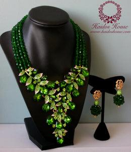 HBS 1204 - Haidos Emerald Green Crystal & Beads Bespoke Jewelry Set
