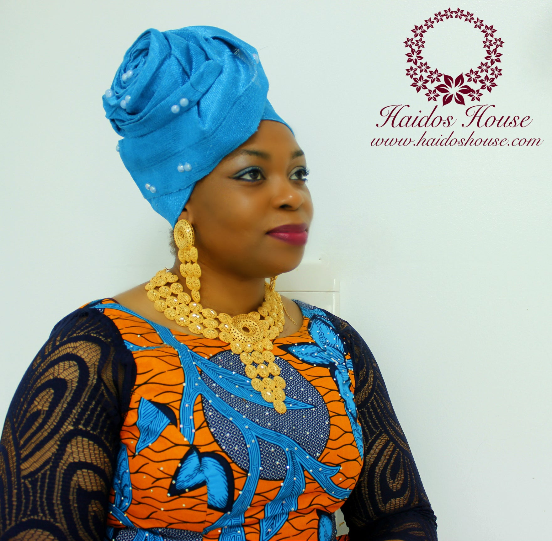 AG - Lovely Rose Design Auto-Gele/ Aso-oke Turban in Turquoise