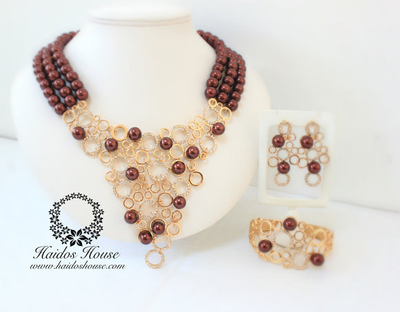 HBS 1242 - Haidos Bespoke Brown & Gold Beads Set