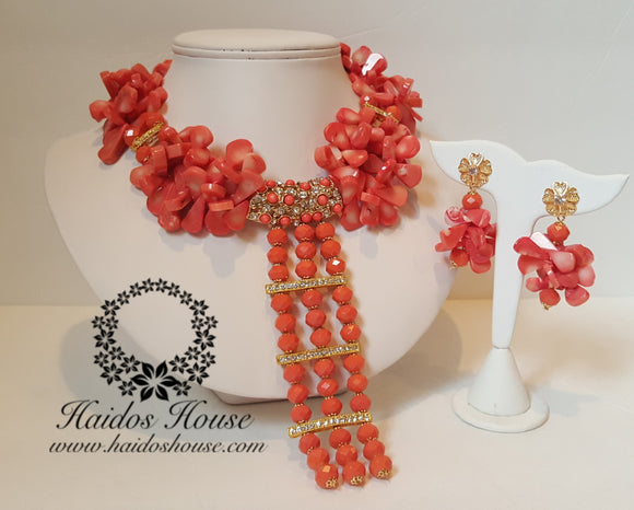 HBS 1334 - Pink/Peach Coral Beads Set