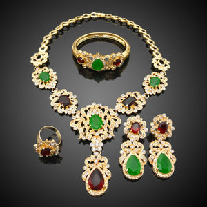 HJS126 - Green & Wine Gold Jewelry Set
