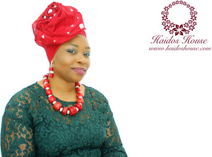 AG - Lovely Rose Design Auto-Gele/ Aso-oke Turban in Dark Red