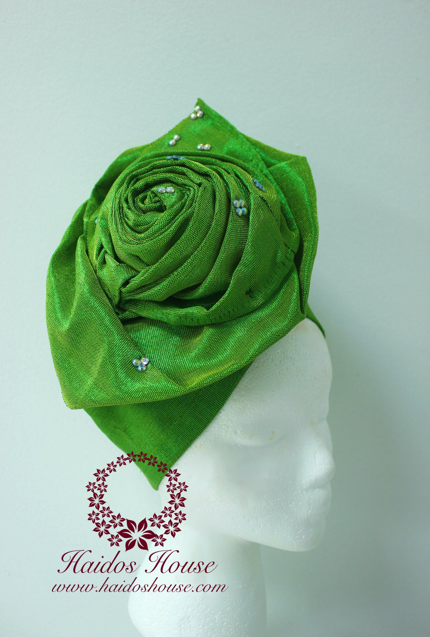 ag lovely rose design auto gele aso oke turban in lime green