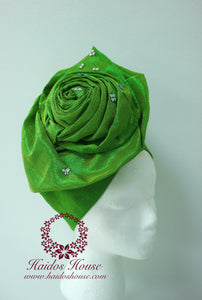 AG - Lovely Rose Design Auto-Gele/ Aso-oke Turban in Lime Green