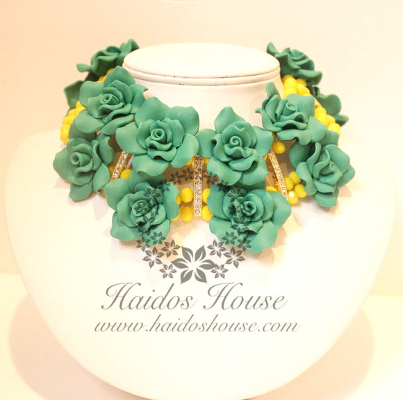 HBS 1327 - Yellow and Green Floral Beads Set