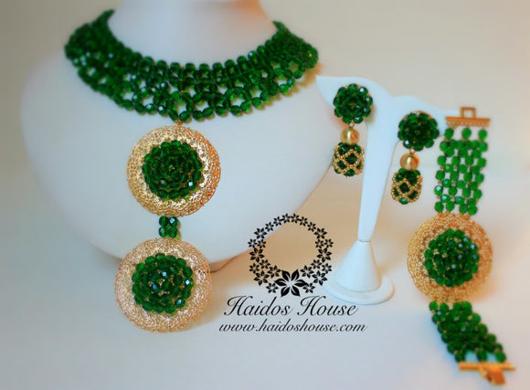 HBS 1268 - Emerald Green & Gold Beads Set