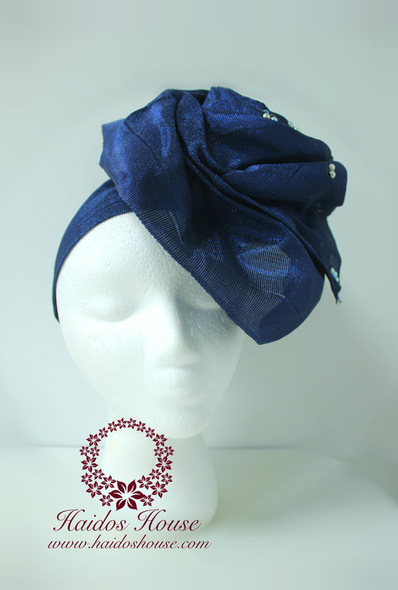 AG - Lovely Rose Design Auto-Gele/ Aso-oke Turban in Navy Blue