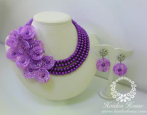 HBS 1229 - Haidos Purple Floral Bespoke Beads Set