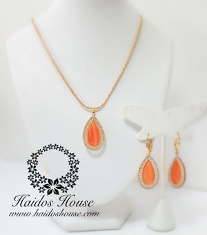 PS104 - Orange & Gold Pendant Set