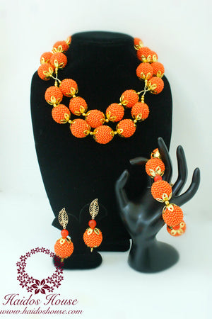 HBS 1212 - Haidos Beaded Orange & Gold Bespoke Beads Set