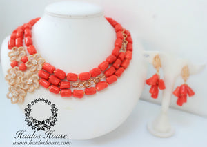 HBS 1238 - Haidos Bespoke Coral & Gold Beads Set with Stones