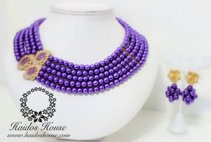 HBS 1257 - Haidos Purple & Gold Multistrand Beads Set