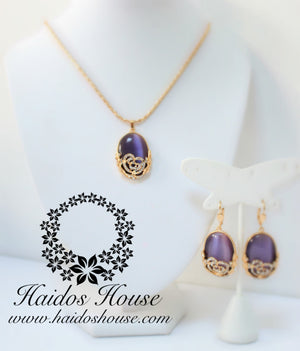 PS103 - Oval Purple & Gold Pendant Set