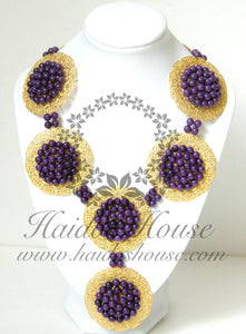 HBS 1329 - Purple & Gold Bead Set