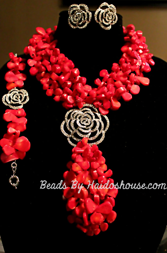 HBS 2806 - Red Coral Beads Set